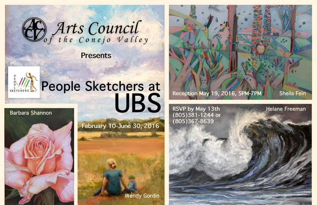 Sheila Fein, Helane Freeman, Barbara Shannon, Wendy Gordin are the People Sketchers showing at UBS Financial.